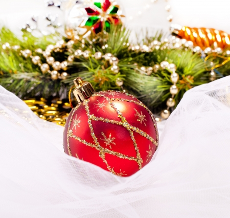 New year background with red decoration ball photo