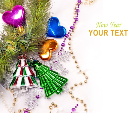 New year background with colorful decorative fur tree for holiday design