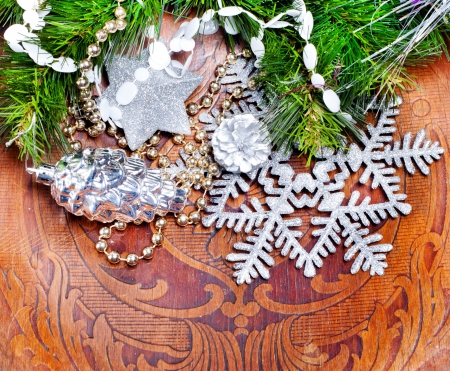 New year wood background with beautiful decorations for holiday design photo