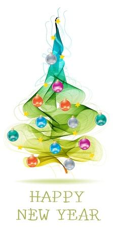 fur tree: New Year background astratto con palline colorate su albero di pelliccia e il testo
