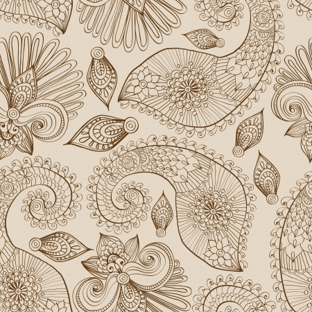 doodle art: Floral seamless pattern with doodle flowers and paisley, illustration