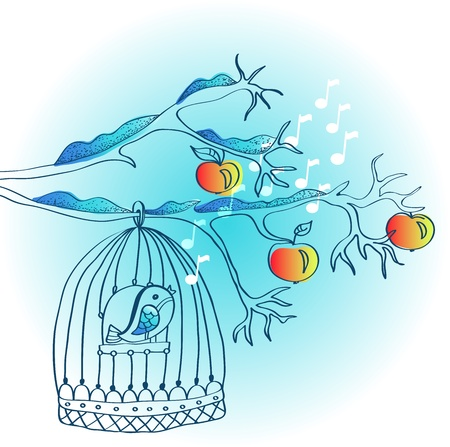 hand drawing winter background with cage and bird, illustration Vector