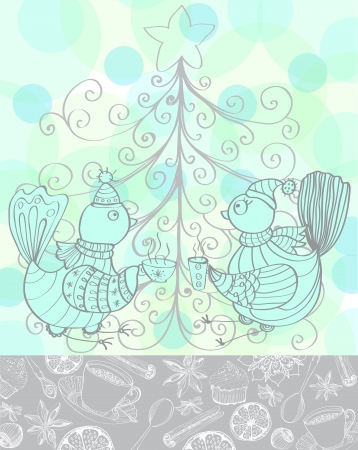 Winter holiday background with cute birds drinking tea, Christmas card Vector