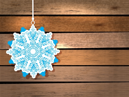New Year card with snowflake in paper cut style over wood background Stock Vector - 16726564