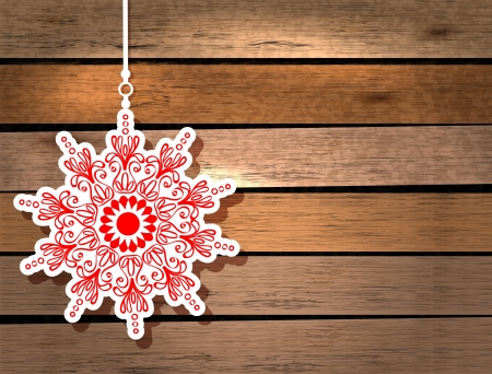 origami pattern: New Year card with snowflake over wood background Illustration