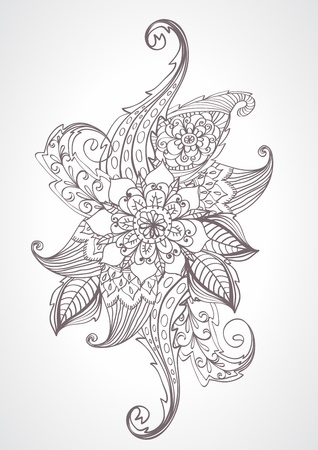 Floral bright doodle illustration for your design Vector