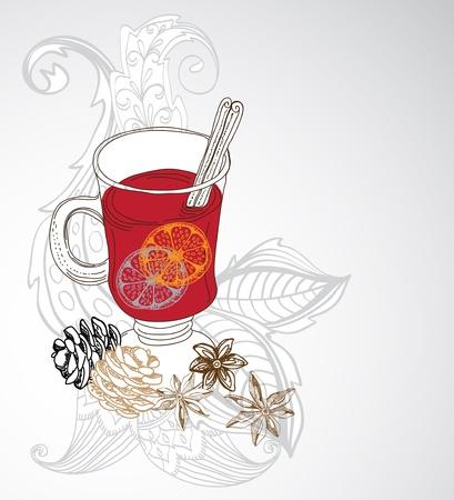 Glühwein Glühwein Hintergrund Illustration für Design mit floralen Elementen
