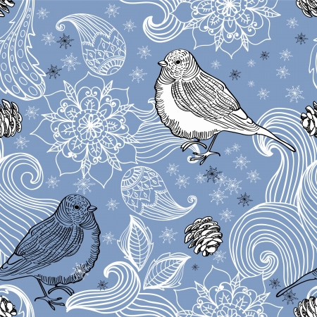 Seamless doodle background bird and floral elements for holiday design Stock Vector - 16899256