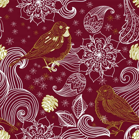 Seamless doodle background bird and floral elements for holiday design Stock Vector - 16899255