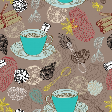 Seamless doodle background with tea and decorative elements for design Vector