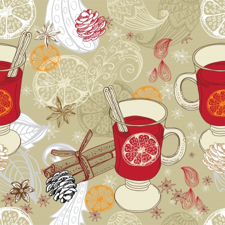 Seamless doodle background with mulled warm wine and floral elements for design Stock Vector - 16899259