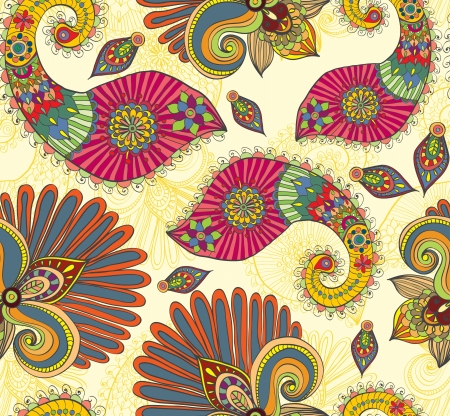 indian summer: Floral bright seamless pattern with doodle flowers and paisley, illustration Illustration