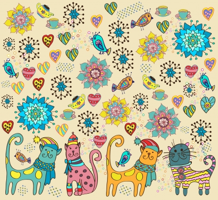 Bright background with cats, birds, flowers and hearts Illustration