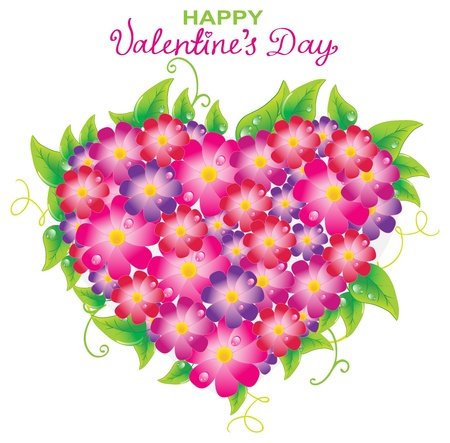 Floral Valentine background with heart shape and text for design Stock Vector - 17100423