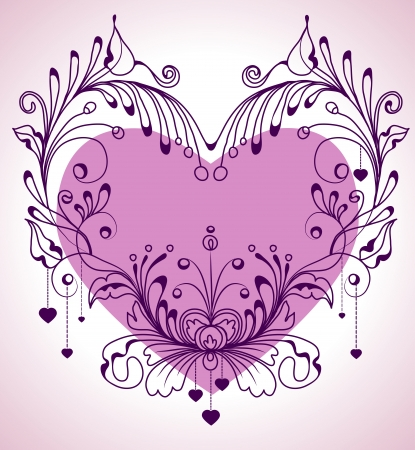 Floral Valentine background with heart for design Stock Vector - 17100397