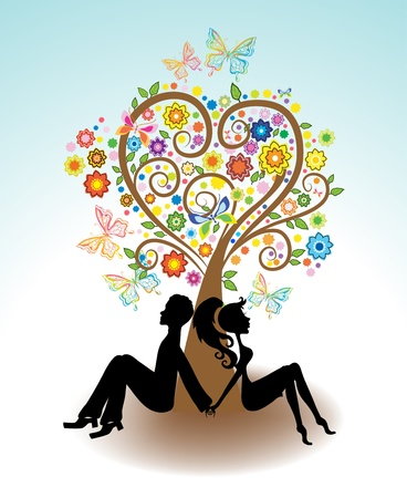 Man, Woman sitting under Love tree with color flowers and butterfly for Valentine card Vector