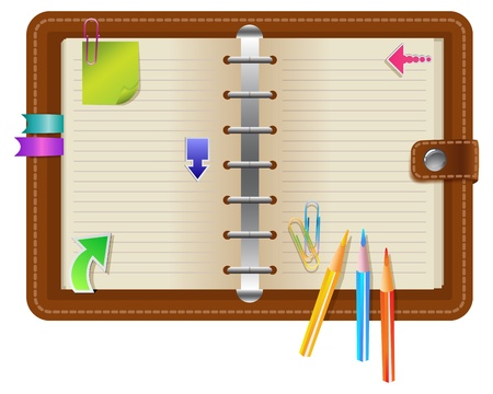 Personal organizer with different elements Vector