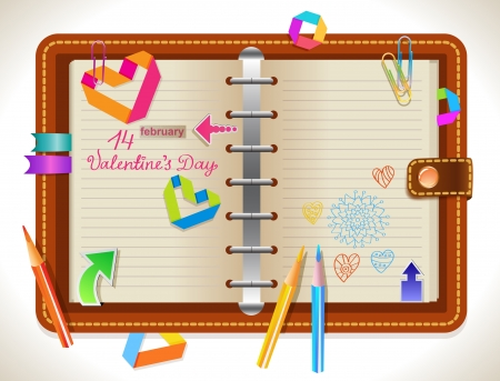 Personal organizer with different elements for Valentine design Vector