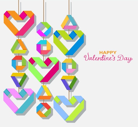 Background with color paper hearts for Valentine design Stock Vector - 17100320