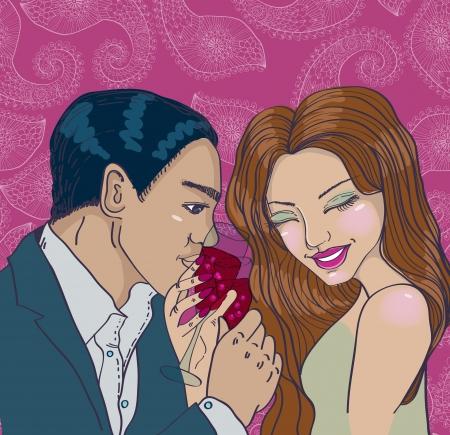 pareja comiendo: pareja disfruta de una cena romántica en un restaurante tostado copas de vino para San Valentín tarjeta
