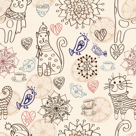 猫、鳥、花、心とのシームレスな背景