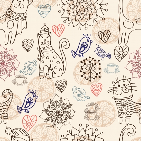 Seamless background with cats, birds, flowers and hearts Vector