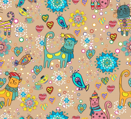 Seamless bright background with cats, birds, flowers and hearts Vector