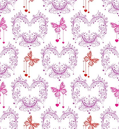 Seamless vintage background with floral ornament and butterfly Stock Vector - 17100408