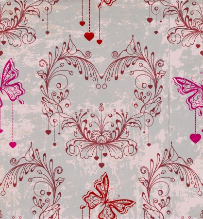 Seamless vintage background with floral ornament and butterfly Stock Vector - 17100442