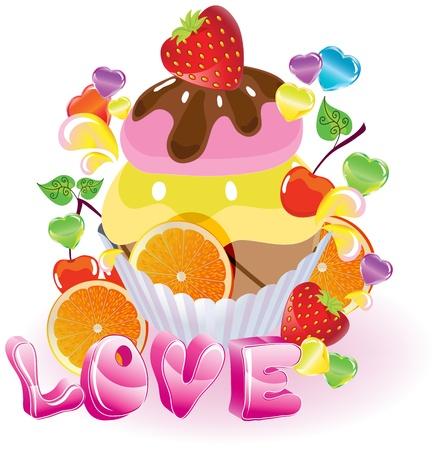 helado caricatura: Fondo de San Valentín con dulces, frutas, bayas y helado y el amor