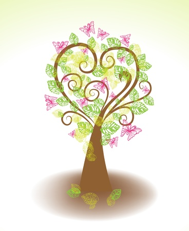 Beautiful tree with green leaves and butterflies for design Stock Vector - 17100404