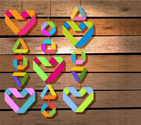 Background with color paper hearts over wood background for Valentine design Vector