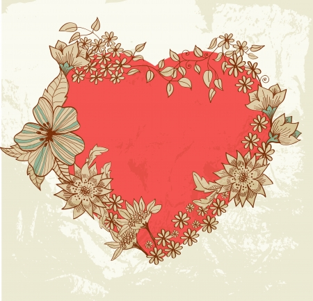 Floral Valentine background with heart for design Stock Vector - 17141575