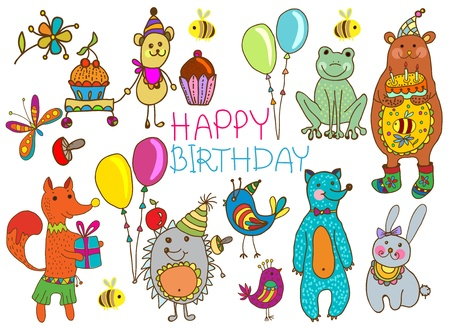 bee birthday party: Happy birthday card, funny cartoon set with mouse, fox, bear, wolf, frog, hedgehog and hare