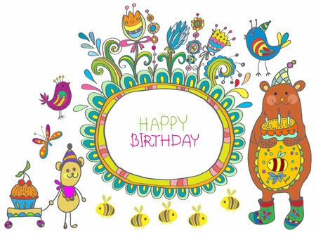 bee birthday party: Happy birthday card, funny cartoon set with mouse and bear Illustration