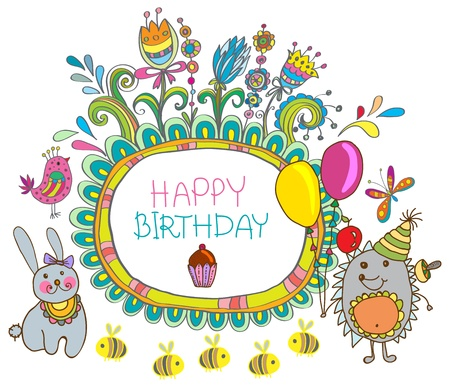 bee birthday party: Happy birthday card, funny cartoon set with hedgehog and hare