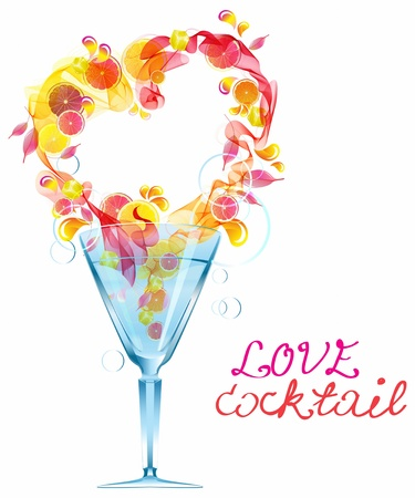 Abstract background with heart in glass, love cocktail foe Valentine design Stock Vector - 17141580