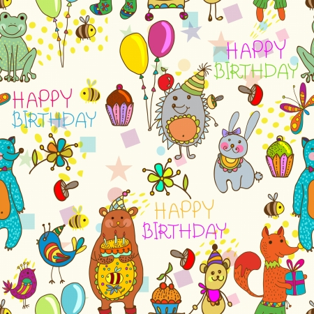 bee party: Seamless Happy birthday background, funny cartoon set with mouse, fox, bear, wolf, frog, hedgehog and hare Illustration