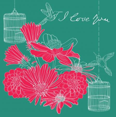 設計のための花の休日バレンタイン カード  イラスト・ベクター素材