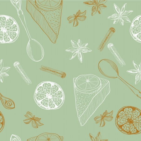 vintage food background, seamless pattern for design Vector