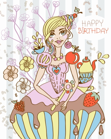 cartoon sweet queen illustration can be used for holiday or birthday design Vector
