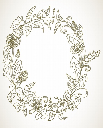 field flowers: Background with wild flower wreath for romantic or holiday design
