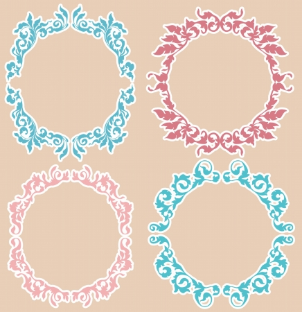 Calligraphic Design elements collection  Vintage Floral Frames for desigh Vector