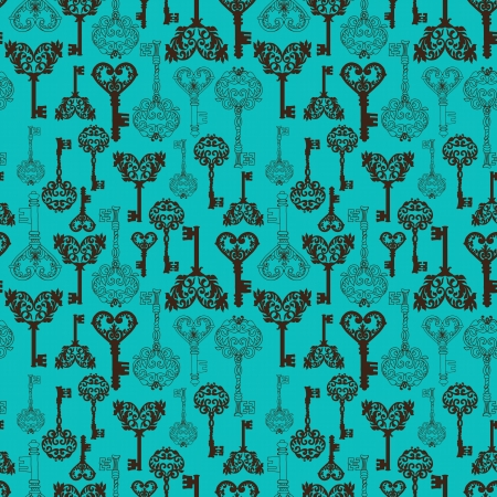 Seamless retro Keys Background for your design or scrapbook Vector