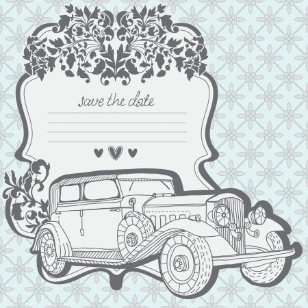 Tarjeta de la invitación con el coche retro y elementos florales, pueden usarse para San Valentín diseño Ilustración de vector