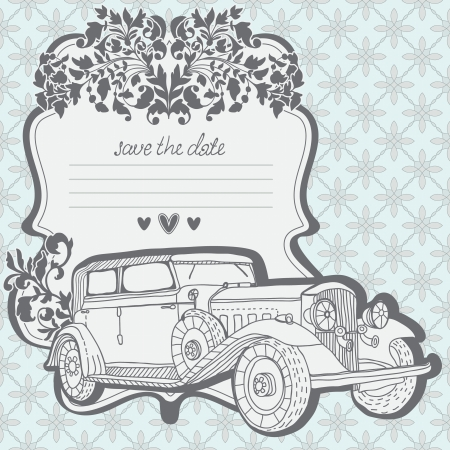 Wedding Invitation Card with retro car and floral elements, may be used for Valentine design Vector