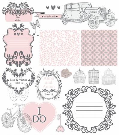 ヴィンテージの要素の - 結婚式の招待状のコレクションに設計、スクラップ ブックまたはバレンタインのデザインを使用可能性があります。