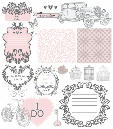 Wedding invitation collection of vintage elements - may be used for design, scrapbook or Valentine design Vector