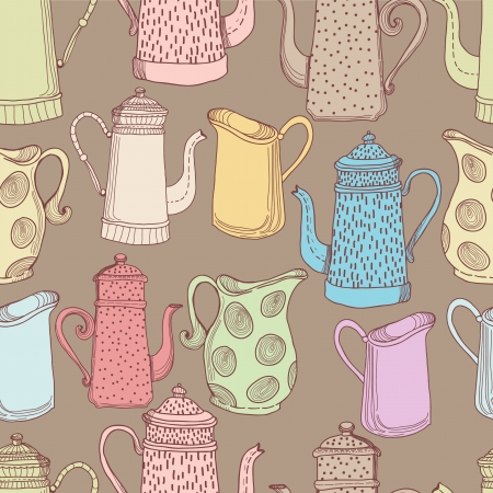 Jugs, seamless pattern for design Vector
