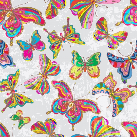 butterflies flying: Seamless vintage color butterfly background for design